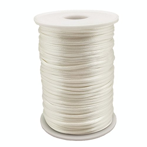 OZXCHIXU 2mm x 100 Yards Satin Nylon Trim Cord, Rattail, Chinese Knot, Kumihimo Cord (White)