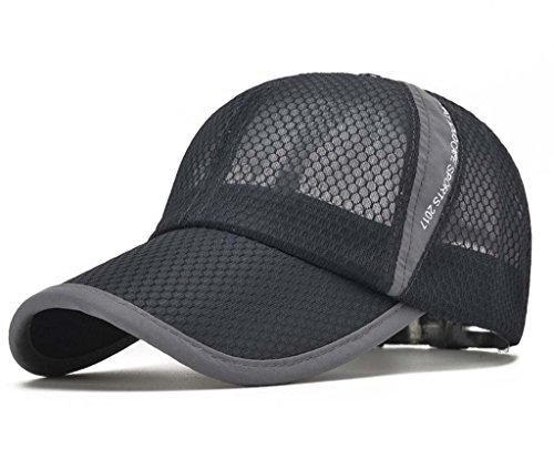 CRYSULLY Lightweight Anti UV Sun Protection Hat Air Mesh Caps Adjustable Trucker Baseball Cap for Women/Men Dark Grey