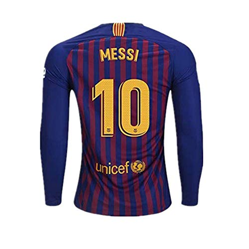 Ruisiag 18/19 Season Barcelona #10 Messi Home Mens Long Sleeve Soccer Jersey Color Red/Blue Size M