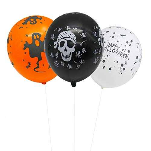 IDS 100 Pieces 12 Inches Halloween Latex Balloons Bat Pumpkin Spider Web Balloons for Halloween Party Decorative for $<!--$11.99-->