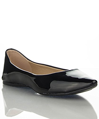 Breckelles Womens TALIA-11 Faux Leather Pointed Toe Ballet Flats Black Patent 8XchhGdQ