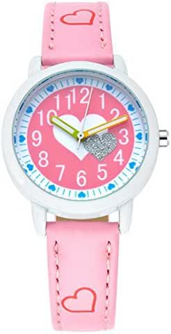 Happy Cherry Kids' Heart Pattern Candy Colors Wrist Watch Students Quartz Watches Leather Strap Pink