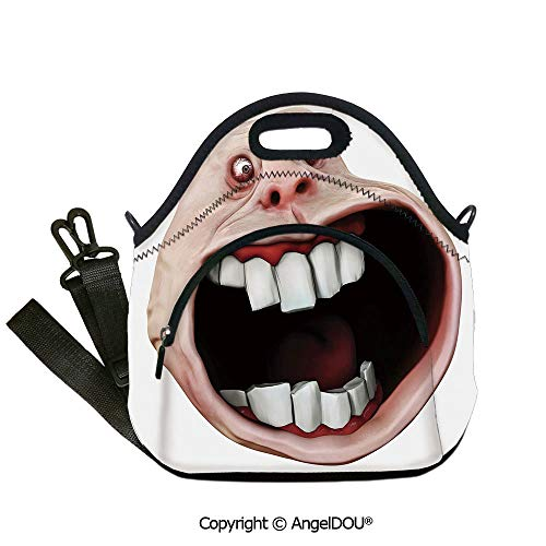 AngelDOU Humor Decor Fashoniable Work Lunch Bags Scary Monster Meme with Surprised Expression Cartoon Comics Graphic for Office School Travel Picnic Beach Party Use.12.6x12.6x6.3(inch)]()