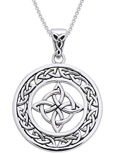 Jewelry Trends Celtic Good Luck Knot Round Medallion Sterling Silver Pendant Necklace 18