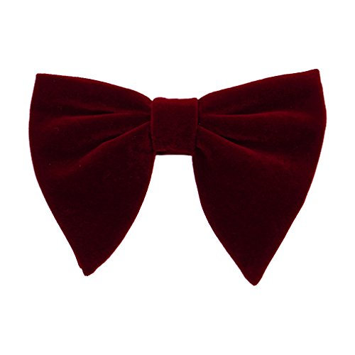 Levao Men's Velvet Vintage Bow Tie Tuxedo Big Bowtie RB004 F Burgundy (Bow X-long Tie Band)