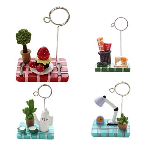 Style Resin Fencing - qsbai Cute Micro Landscape Teapot Strawberry Tree Memo Holder Clip for Business Card - Random Color & Style