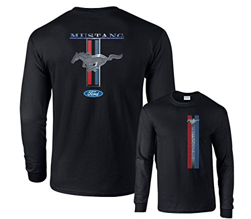 Fair Game Ford Mustang Racing Stripe Long Sleeve T-Shirt (Mustang Black Shirt)
