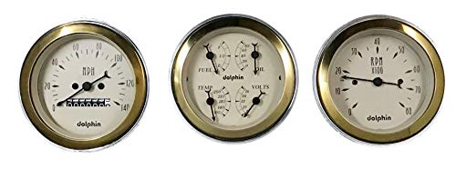 Dolphin Gauges 1949 1950 Plymouth Car 3 Gauge Quad Style Mechanical Dash Panel Insert Gold Bezel