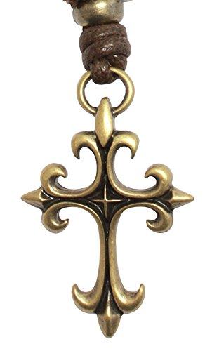 BDJ Gothic Fleur De Lis Cross Antique Bronze Charm Pendant Adjustable Cord Necklace 16