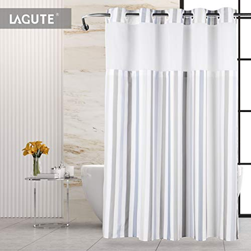 Lagute SnapHook Stijl Hook Free Shower Curtain   74 in (L) x 71 in (W)   Removable Liner   See Through Top   Machine Washable   Nordic Stripes