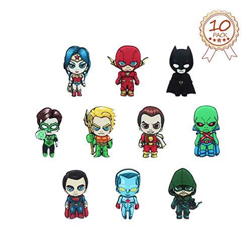 (HXDZFX 10 PCS DC Justice League fridge magnets,Super hero Refrigerator Magnets,Comics Magnets,Decorative magnets,Perfect for Ornaments Decoration Collectionism)