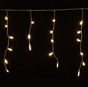 70 warm white led icicle lights white wire - White Icicle Christmas Lights