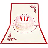 3D Birthday Pop Up Card and Envelope - Funny Unique Pop Up Greeting Card Gift for Birthday saying Happy Birthday. Birthday Cake with 3 RED candles