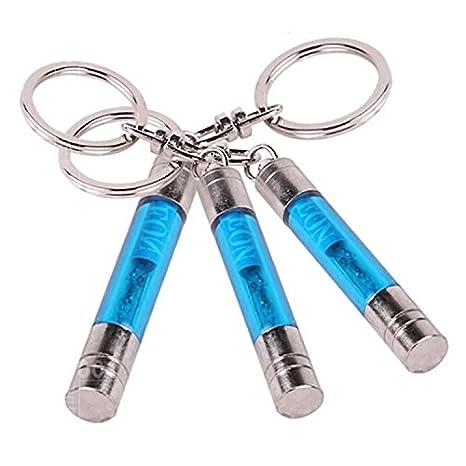 Forma de cilindro antiestático Llavero Claro electricidad estática del coche Liberador Azul 3 Pack