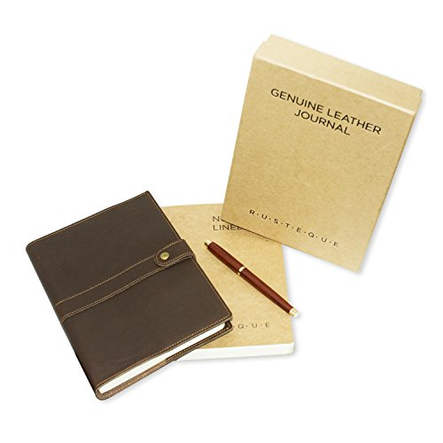 Refillable Leather Journal with Wooden Pen for Men & Women with Extra Notebook | 8 by 5 | Lay Flat 220 Pages Lined and Unlined Notebooks for Travelers, Business, Sketching and Writing (Rolled Tan Leather)