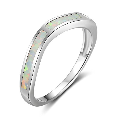 J.Memi Ring 925 Sterling Silver Oval Created White Opal White Gold Plated...