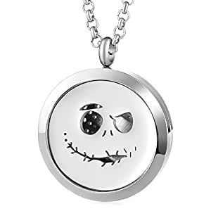 30mm Essential Oil Diffuser Locket Halloween Elf Necklace Stainless Steel Jewelry VA-737 Pack of 10pcs