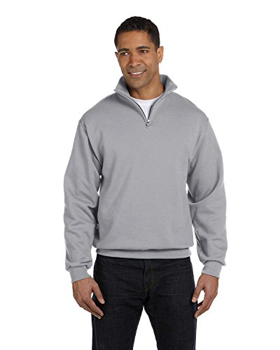Jerzees Men's Quarter-Zip Cadet Collar Pullover Sweatshirt_Oxford_XXX-Large - Cadet Collar Oxford