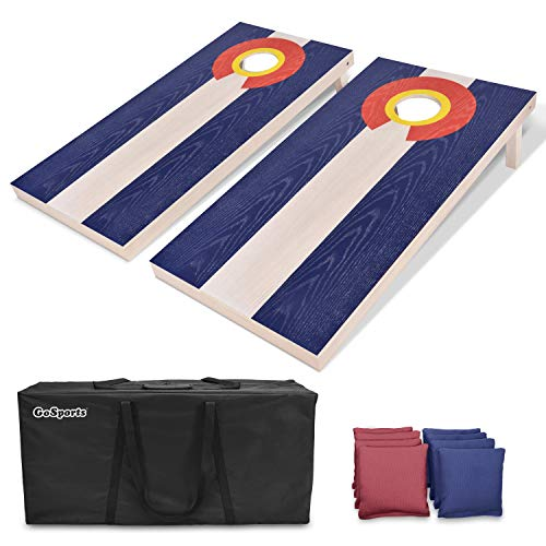 GoSports Colorado Regulation Size Solid Wood Cornhole Set - Colorado Flag - Includes Two 4' x 2' Boards, 8 Bean Bags, Carrying Case & Game Rules