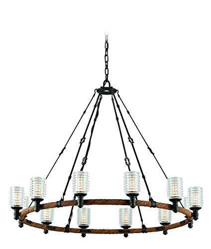 Troy Lighting Embarcadero 42.5″W 12-Light Pendant – Shipyard Bronze with Antique Manila Rope Finish and Solid Ribbed Clear Glass