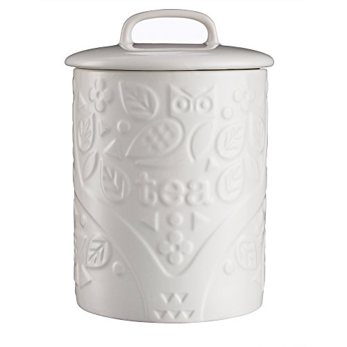 (Mason Cash in The Forest Tea Jar, Durable Stoneware Canister with Airtight Lid for Dry Goods, Intricate Embossed Design, 25-Fluid Ounce Capacity, Cream )