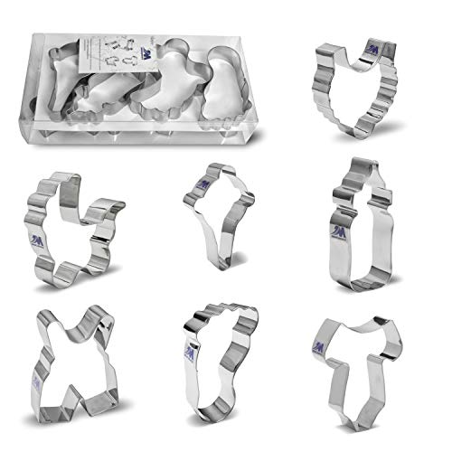 Baby Shower Cookie Cutter Set,Onesie, Bib, Rattle, Feeding Bottle, Baby Carriage, Baby Pants,Baby Foot Biscuit Cutters, 7 Piece set Big Size Boxed package, Stainless Steel