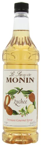 Monin Flavored Syrup, Lychee, 33.8-Ounce Plastic Bottles (Pack of 4)