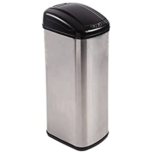 13 Gallon Touch-Free Sensor Automatic Stainless-Steel Trash Can Kitchen