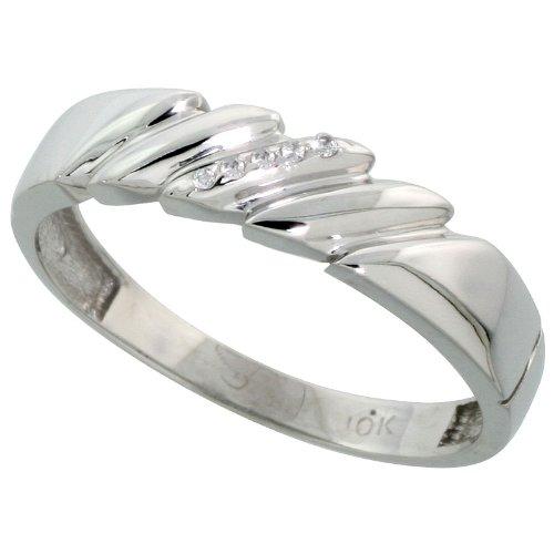 3//16 inch wide 10k White Gold Mens Diamond Wedding Band