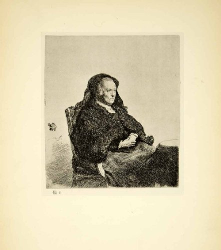 1929 Photogravure Rembrandt Portrait Mother Seated at a Table Old Woman Etching - Original (Old Antique Etching)