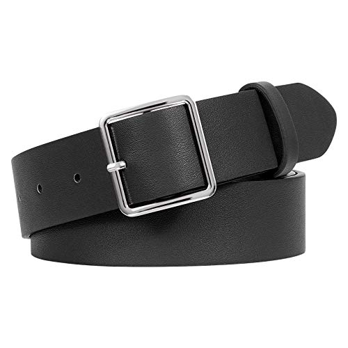 WERFORU Women PU Leather Belt for Jeans Pants Ladies Fashion Waist Dress Belt with Silver Pin Buckle, Black, Suit for Pants Size 24-28 Inches
