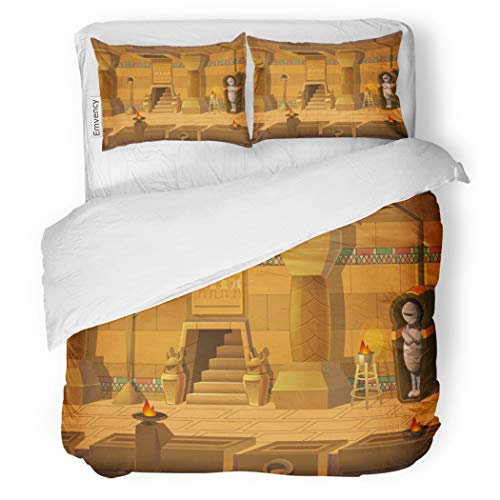 SanChic Duvet Cover Set Cartoon Landscape Inside Egyptian Tomb Unending Separated Layers Decorative Bedding Set with 2 Pillow Cases Full/Queen Size ()
