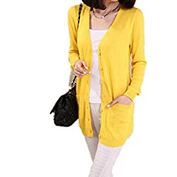 Wool Sweater Medium Long Cashmere Cardigan Women Loose Sweater Outerwear Coat With Pockets Large Yellow