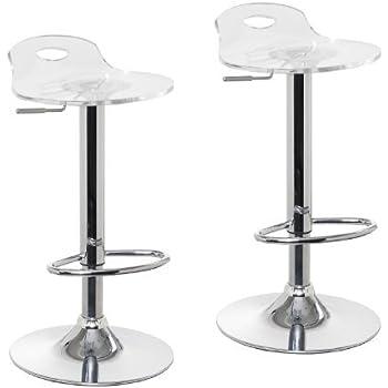 Amazon Com Claris Adjustable Acrylic Bar Stools Set Of 2