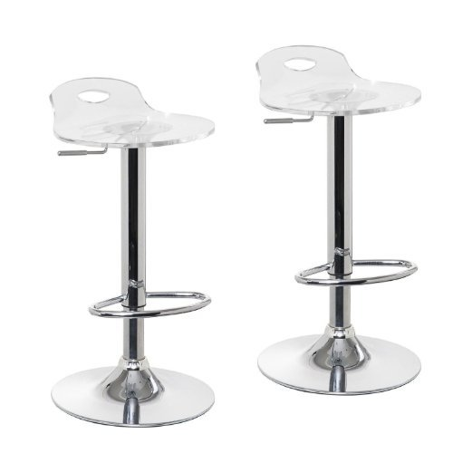 Acrylic Hydraulic Lift Adjustable Counter Bar Stool Dining Chair Clear -Pack of 2 (2017)