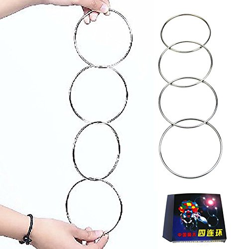 Chinese Magic Rings (Chunshop New 4 Magic Chinese Linking Rings Set Magnetic Lock Kids Party Show Stage)