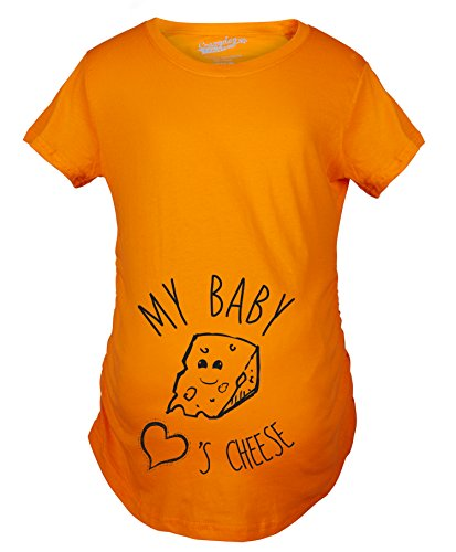 Maternity My Baby Loves Cheese Funny Announce Pregnancy Baby Bump T Shirt (Orange) -L by Crazy Dog T-Shirts (Image #4)
