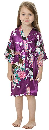 JOYTTON Girls' Satin Kimono Robe for Spa Party Wedding Birthday (12,Dark Purple) -