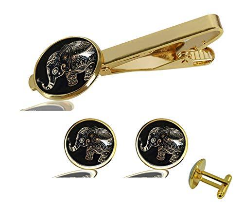 Gold Cufflinks Elephant - FQJNS Custom Photo Personalized Cuff Links Tie Clip Set Cufflinks Accessories Man Wedding Jewelry Gift (Gold Floral Elephant)