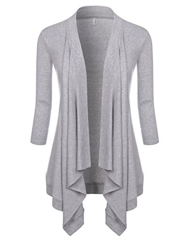 (NEARKIN (NKNKWCD6927 Womens Open Front Slim Cut Look Daily Casual 3/4 Sleeve Cardigans Gray US M(Tag Size L) )