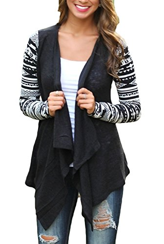 Leopard Print Ribbed Cardigan - girltalkfashions Women's Geometric Print Drape Front Knit Cardigan Black, Large