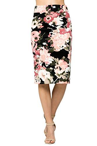 Junky Closet Women's Comfort Stretch Pencil Midi Skirt (Medium, 2936FBBB_BLK Pink)