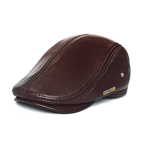 [LETHMIK Flat Cap Cabby Hat Genuine Leather Vintage Newsboy Cap Ivy Driving Cap L-Brown] (Dress Up For Men)