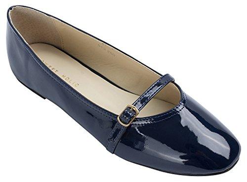 Sweet Holic Mujeres Ladies Mary Jane Ballet Zapatos Planos Navy