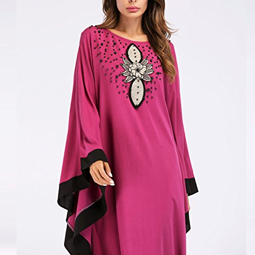 Cocktail Rose Abaya Femmes Dcontracte Islamique rouge Arabe Moyen Musulmans Robes Orient Robes Maxi Zhhlaixing Muslims Robe Caftan Longue Les Dresses Uq7ppwF