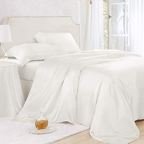ElleSilk Ivory Silk Duvet Cover, 22MM Seamless Mulberry Silk, Hypoallergenic, Queen -