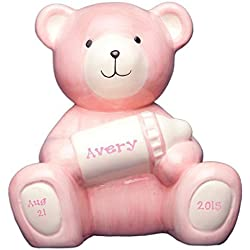Personalized Pink Bear Piggy Bank