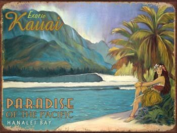 Exotic Kauai Metal Sign: Surfing and Tropical Decor