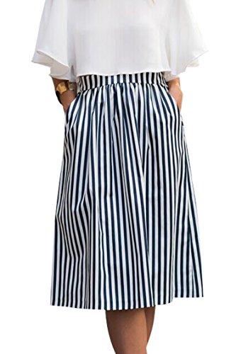 Zeagoo Women's Vertical striped pocket High Waisted Skater Midi Skirt Black xxl