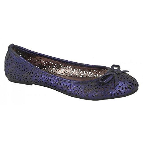 Spot On Womens/Ladies Slip On Summer Ballerina Shoes Nude Gold 9czFF